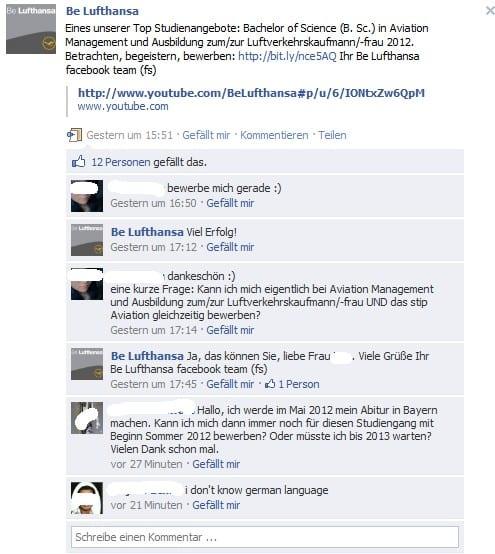 Dialog auf der Lufthansa Karriere-Page