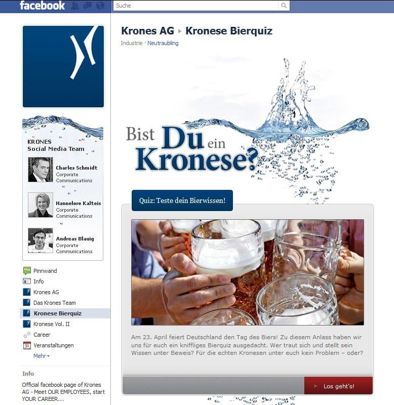Krones Karriere-Page mit dem Bierquiz