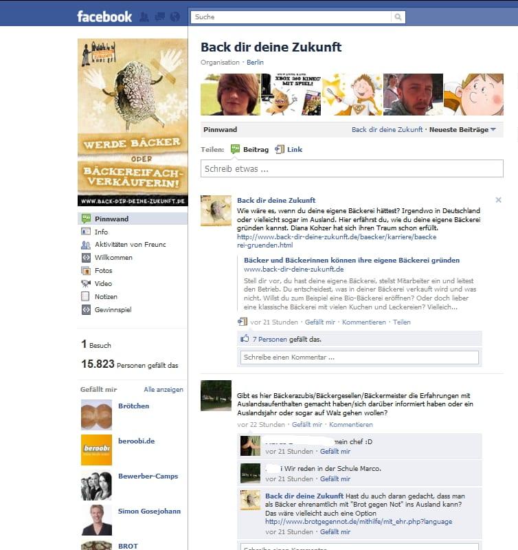Die Facebook-Page von Back dir deine Zukunft