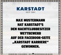 Max Mustermann hat Karstadts den Nachtclubbesitzer Wettbewerb auf der Facebook-Seite Karstadt Karriere gewonnen