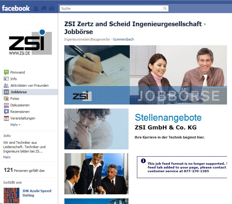 Peinlich, peinlich - schon seit Monaten gibt es diesen Bug auf der ZSI Karriere-Page. Auch das Fanwachstum und der Dialog tendieren gleich Null...