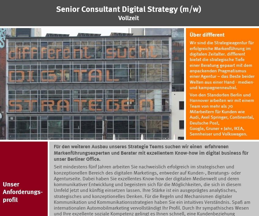 different sucht Digital Strategen - Stellenanzeige