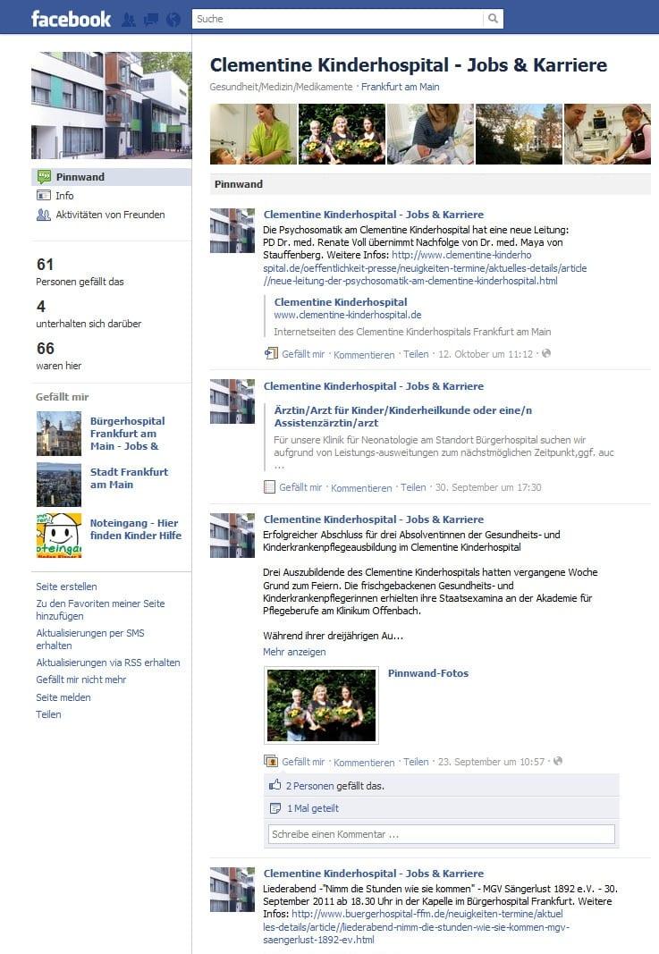 Facebook-Page Clementine Kinderhospital Jobs und Karriere