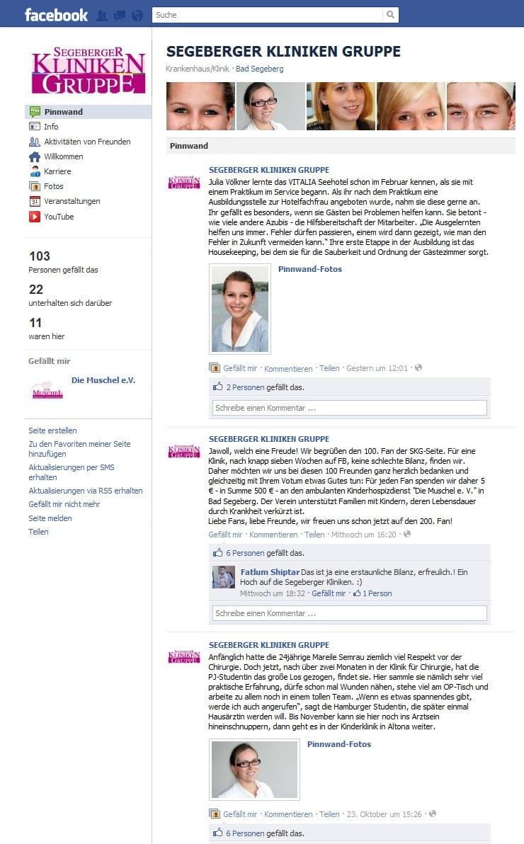 Facebook-Page der SEGEBERGER KLINIKEN GRUPPE
