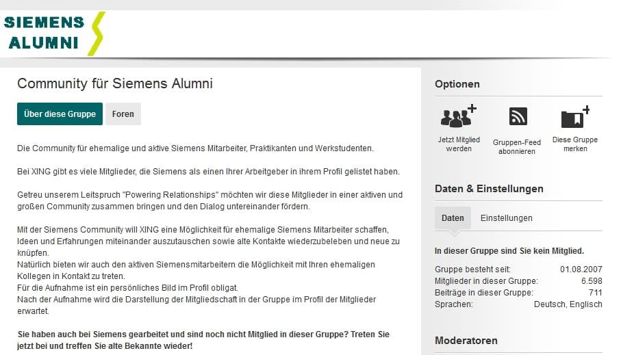 Siemens Alumni auf Xing