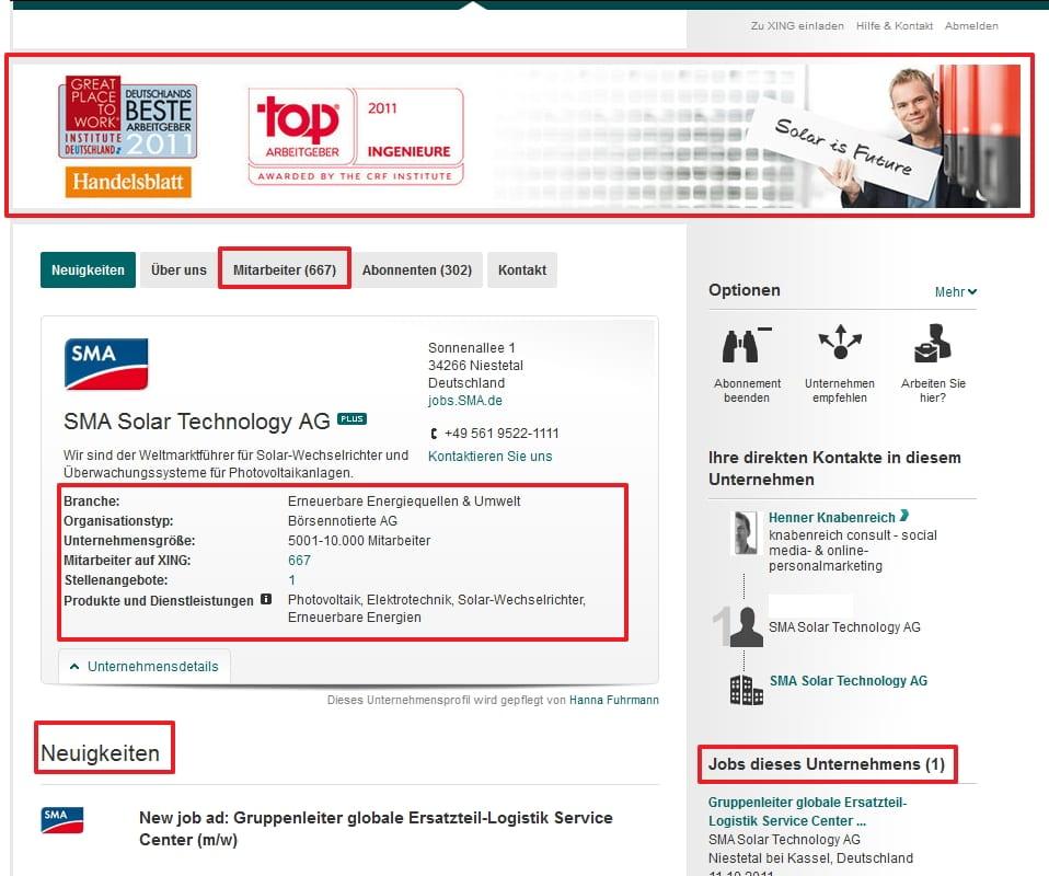 Xing Unternehmensprofil Plus am Beispiel der SMA Solar Technology AG