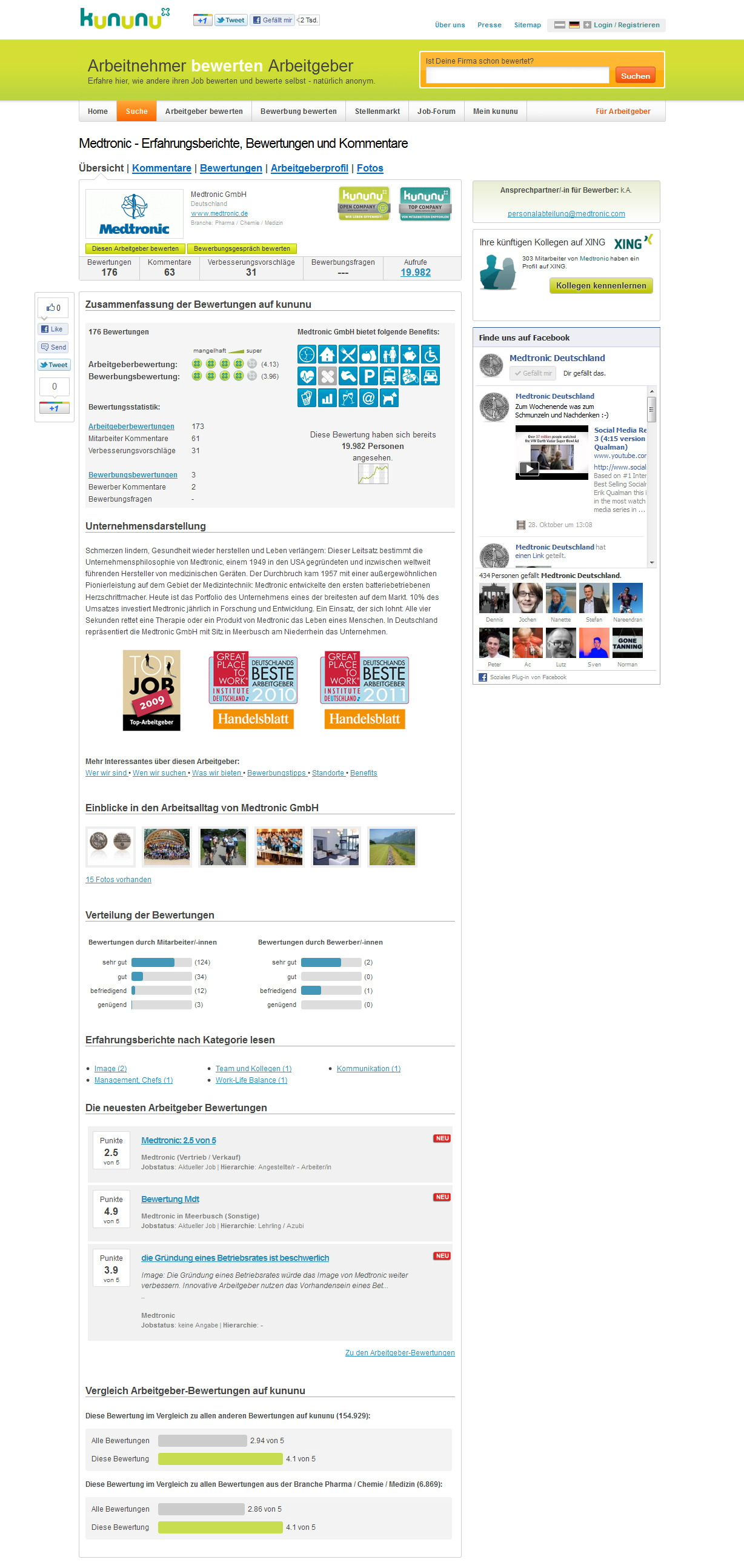 Employer Branding: Arbeitgeberprofil von Medtronic auf kununu