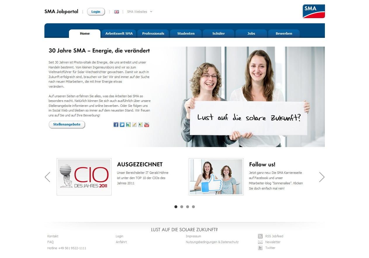 SMA Karriere-Website mit Verknüpfung sämtlicher Social Media Aktivitäten