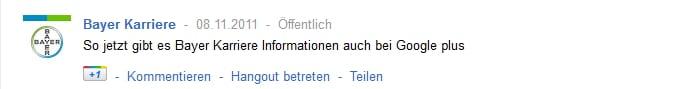 Bayer Karriere auf Google+