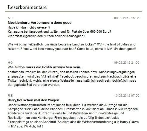 Kommentare zur Ausbildungskampagne in Mecklenburg-Vorpommern