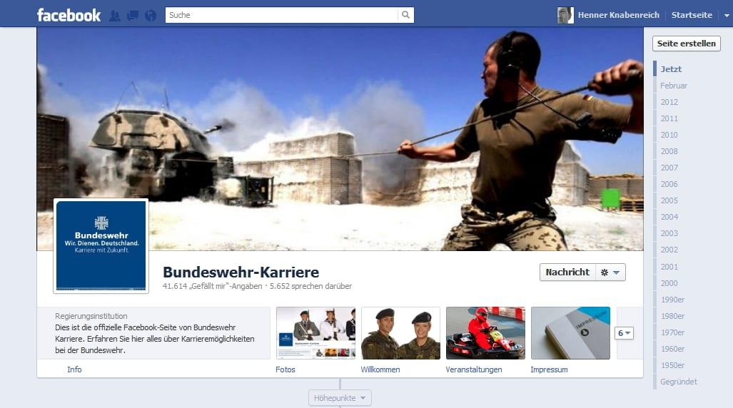 Ganz schön martialisch. Ist aber auch kein Kinderkrankenhaus: Bundeswehr Karriere. Gefällt gut: Fans konnten über Coverfoto abstimmen, Chronik wird genutzt