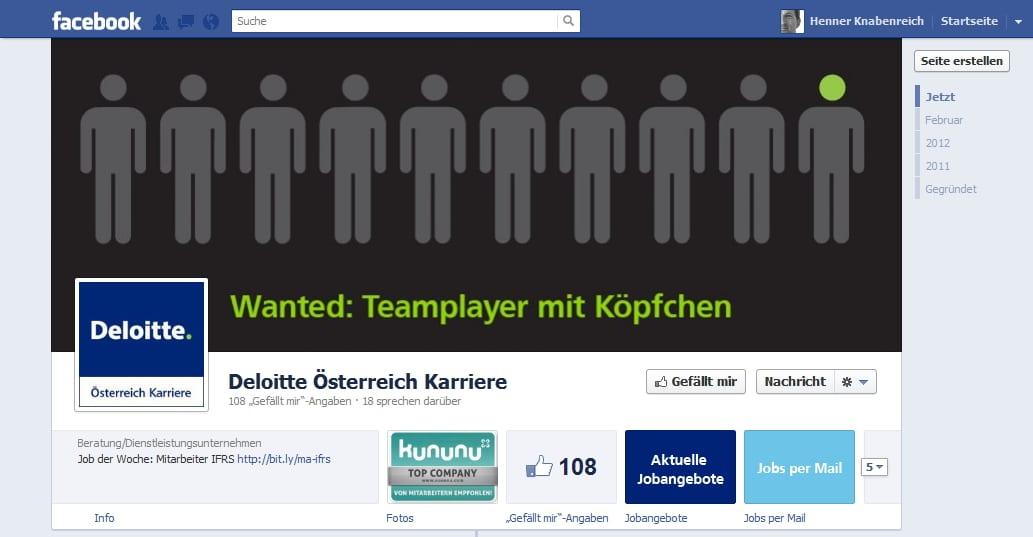 Noch frisch auf Facebook, aber den deutschen Kollegen weit voraus: Deloitte Östereich