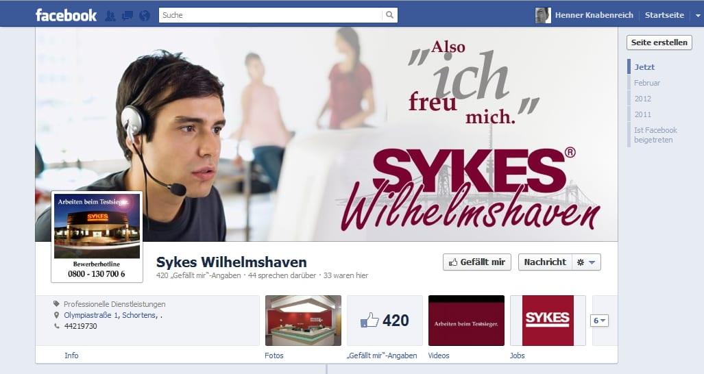 SYKES, gleich dreimal auf Facebook. Bisher einmal mit der Chronik.