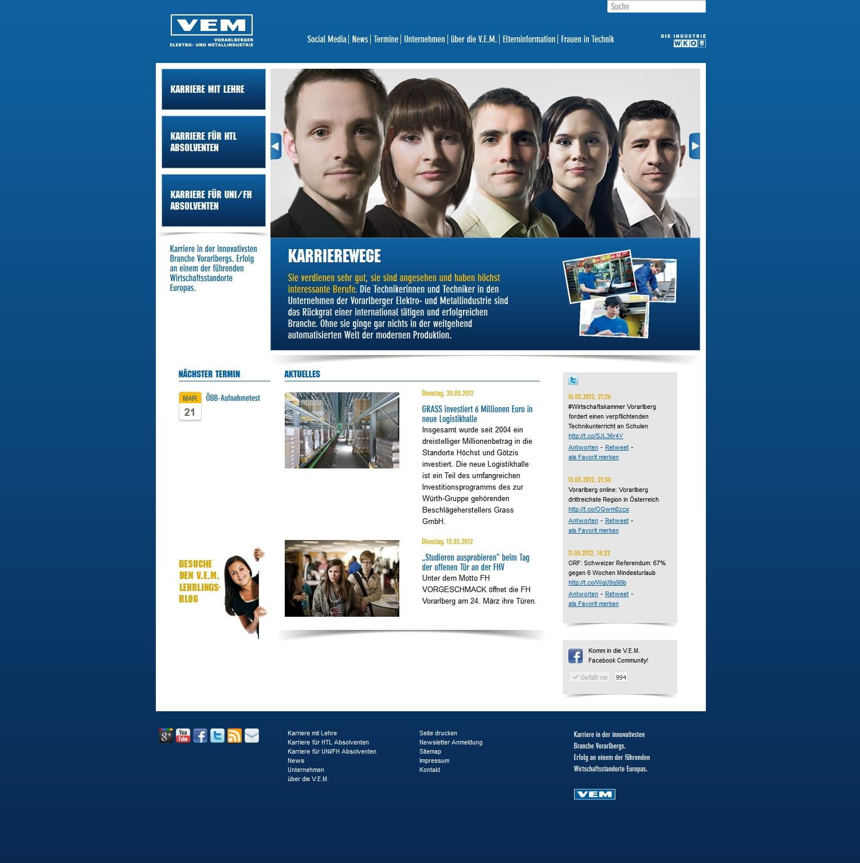 Screenshot Website der V. E. M. mit umfangreichem Info-Angebot