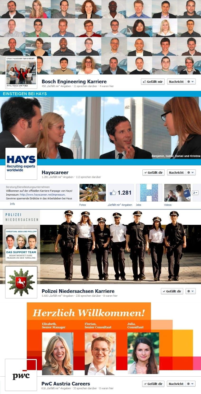 Beispiele wie Coverfoto oder Profilbild zur Teamvorstellung genutzt werden können: Bosch Engineering - Hays - Polizei Niedersachsen - PWC Austria