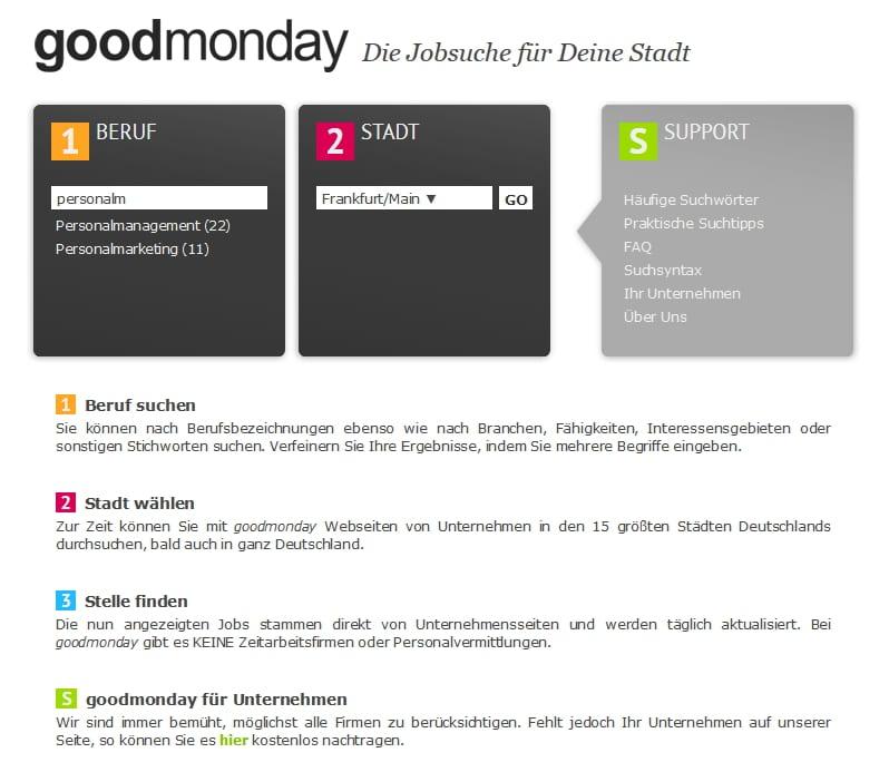 Jobsuchmaschine goodmonday - einfaches, klares Layout mit AJAX-Technologie