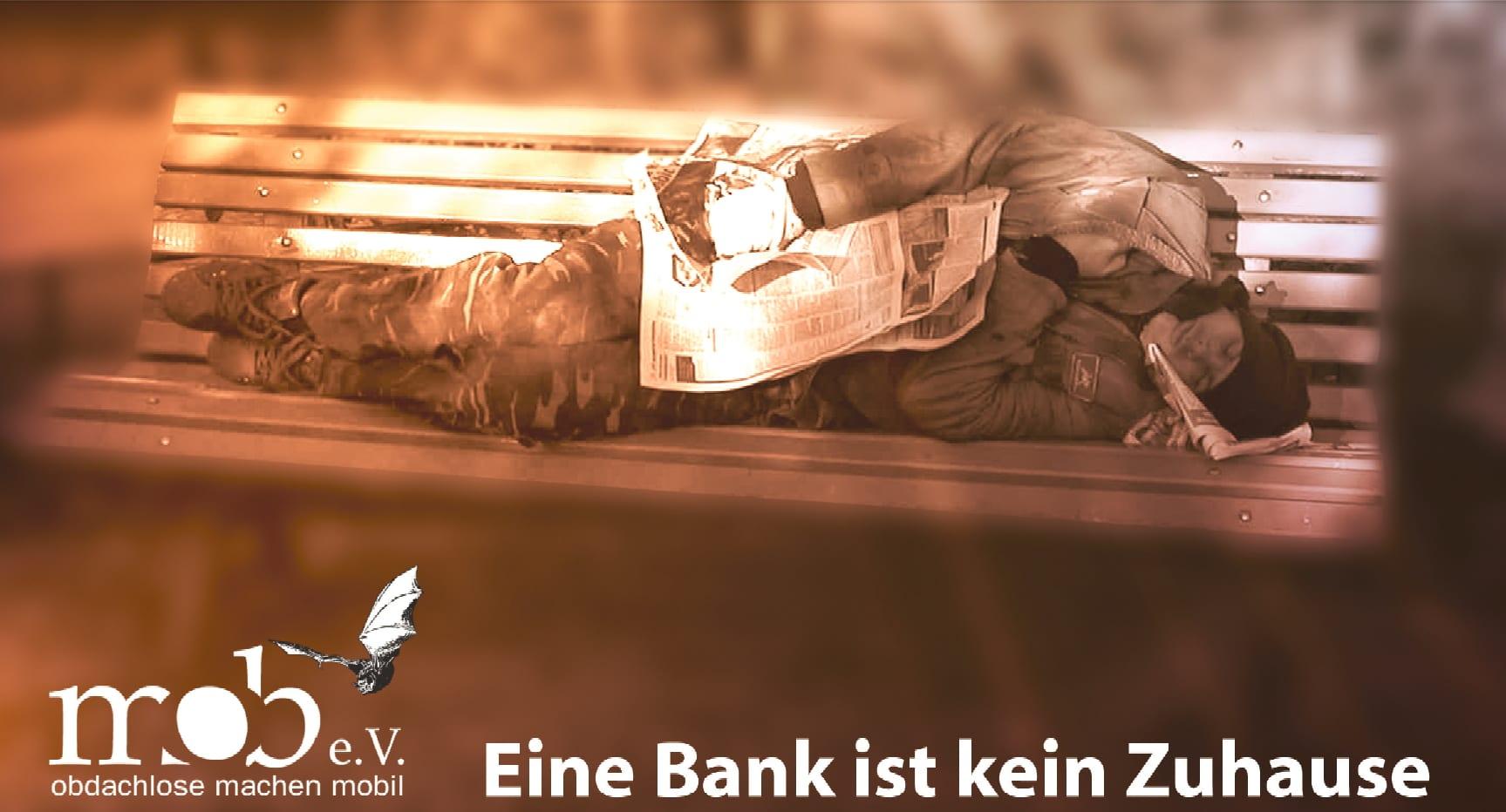 Eine Bank ist kein Zuhause - Aktion Dach über dem Kopf