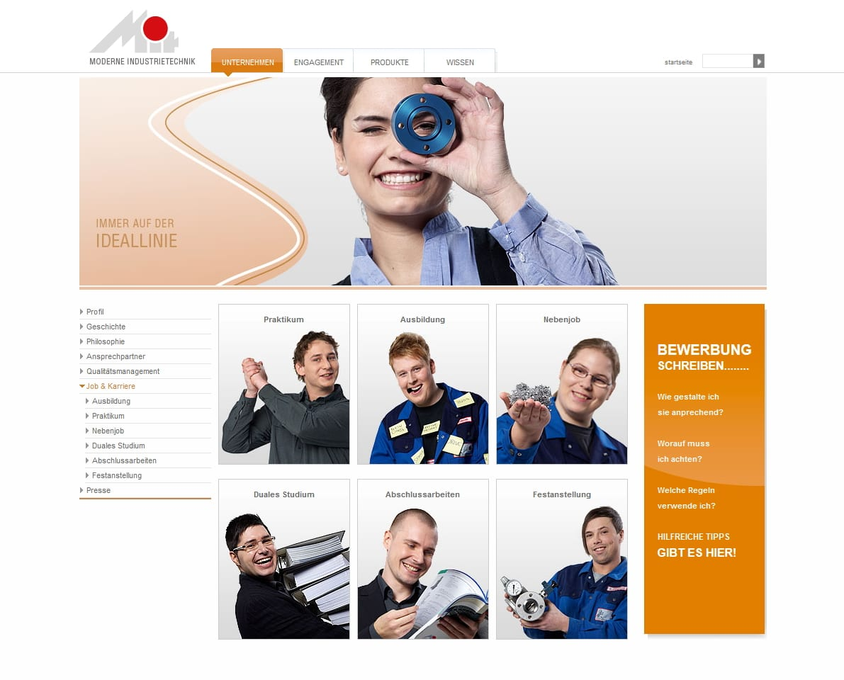 Karriere-Website Moderne Industrie Technik