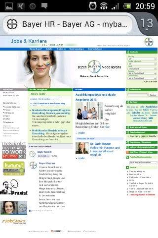Mobile Karriere-Website Bayer