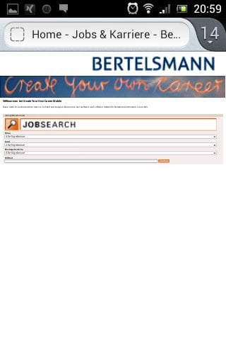 Mobile Karriere-Website Bertelsmann