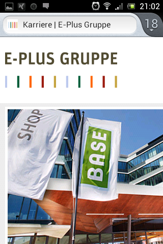 Mobile Karriere-Website E-Plus Gruppe