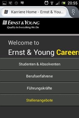 Mobile Karriere-Website EY Startseite