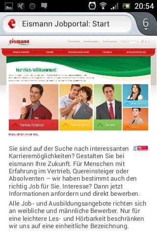 Mobile Karriere-Website Eismann