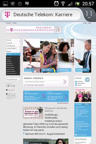 Mobile Karriere-Website Telekom