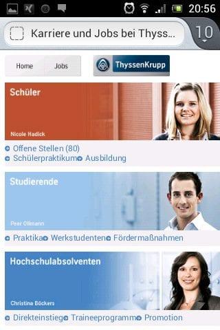 Mobile Karriere-Website ThyssenKrupp