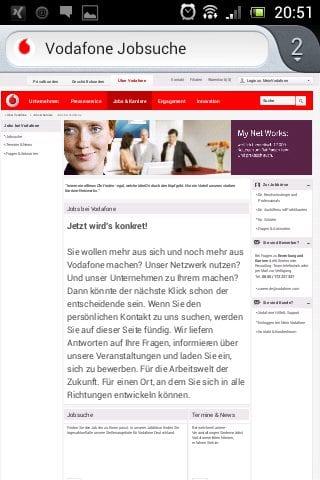 Mobile Karriere-Website Vodafone