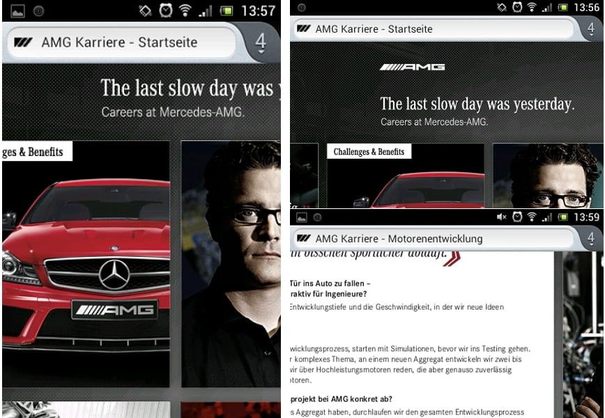 Auch auf der mobilen Website erschließen sich dem Nutzer die Informationen nicht