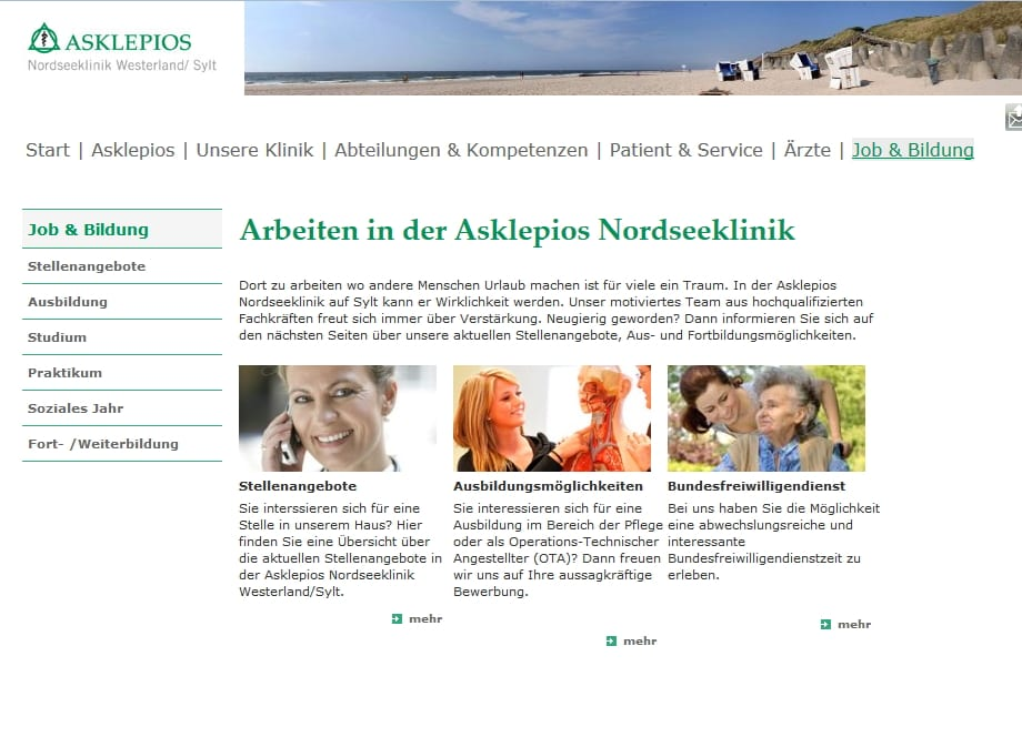 Karriere-Website Asklepios Sylt