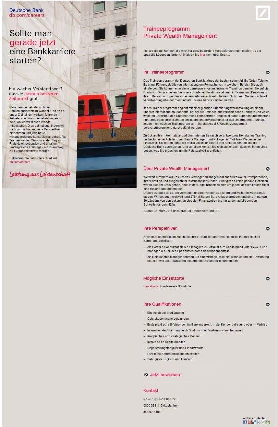 Online-Stellenanzeige der Deutschen Bank - ein wacher Verstand muss erstmal alle Menüpunkte anklicken um mehr zu sehen