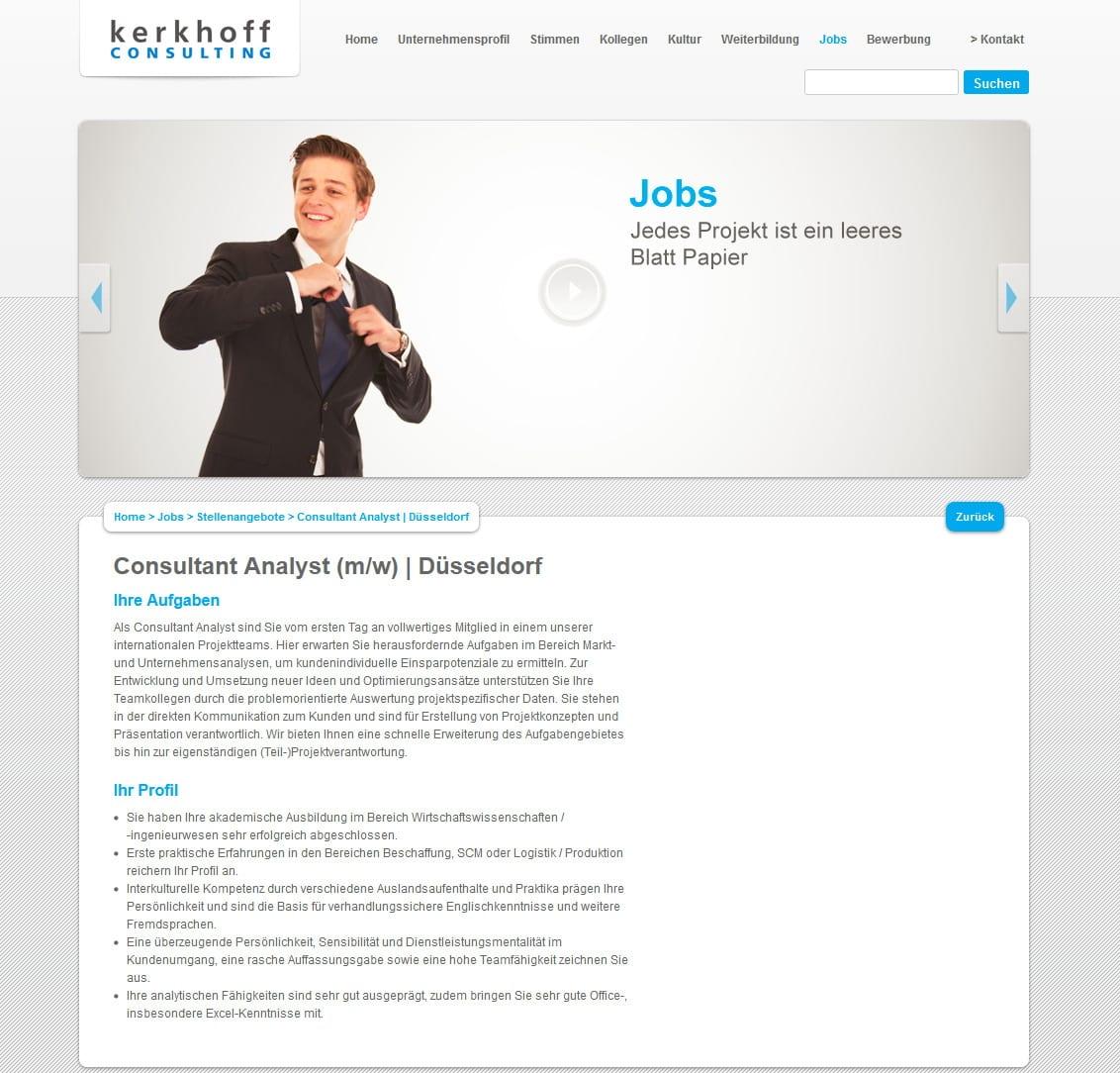 Jobs bei Kerkhoff Consulting - eine Bewerbung unmittelbar aus dem Stellenangebot ist nicht möglich