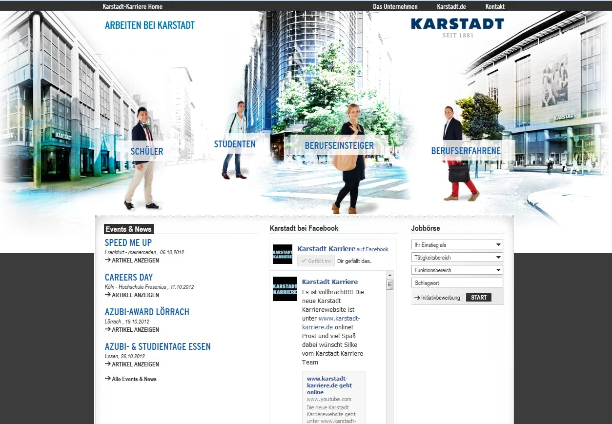 Karstadt Karriere-Website - nicht klar erkennbare Navigation auf der Startseite