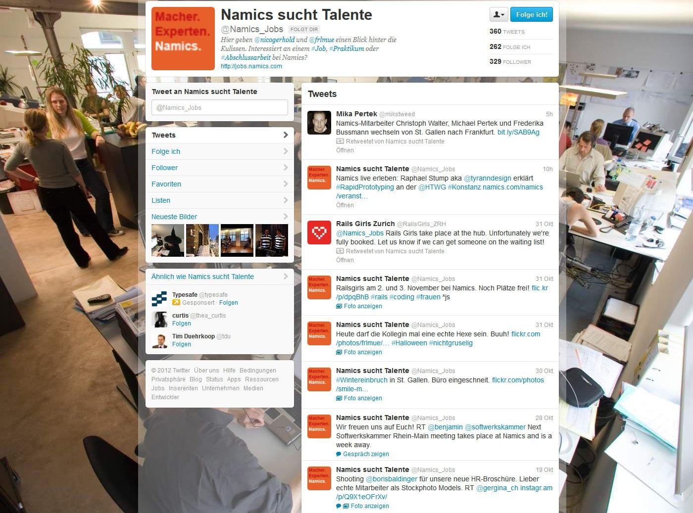 Schön gemacht - Namics sucht Talente mit Vorstellung des Teams, ersten Einblicken in die Namicswelt und Dialog auf Twitter