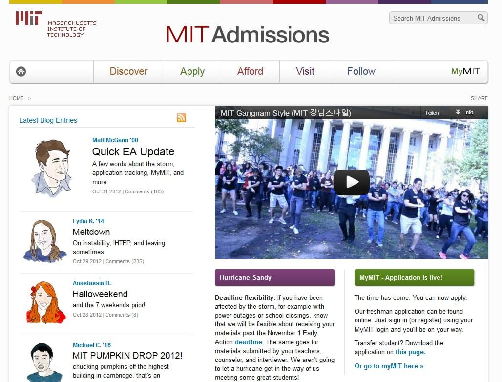 Screenshot der MIT-Admissions-Website
