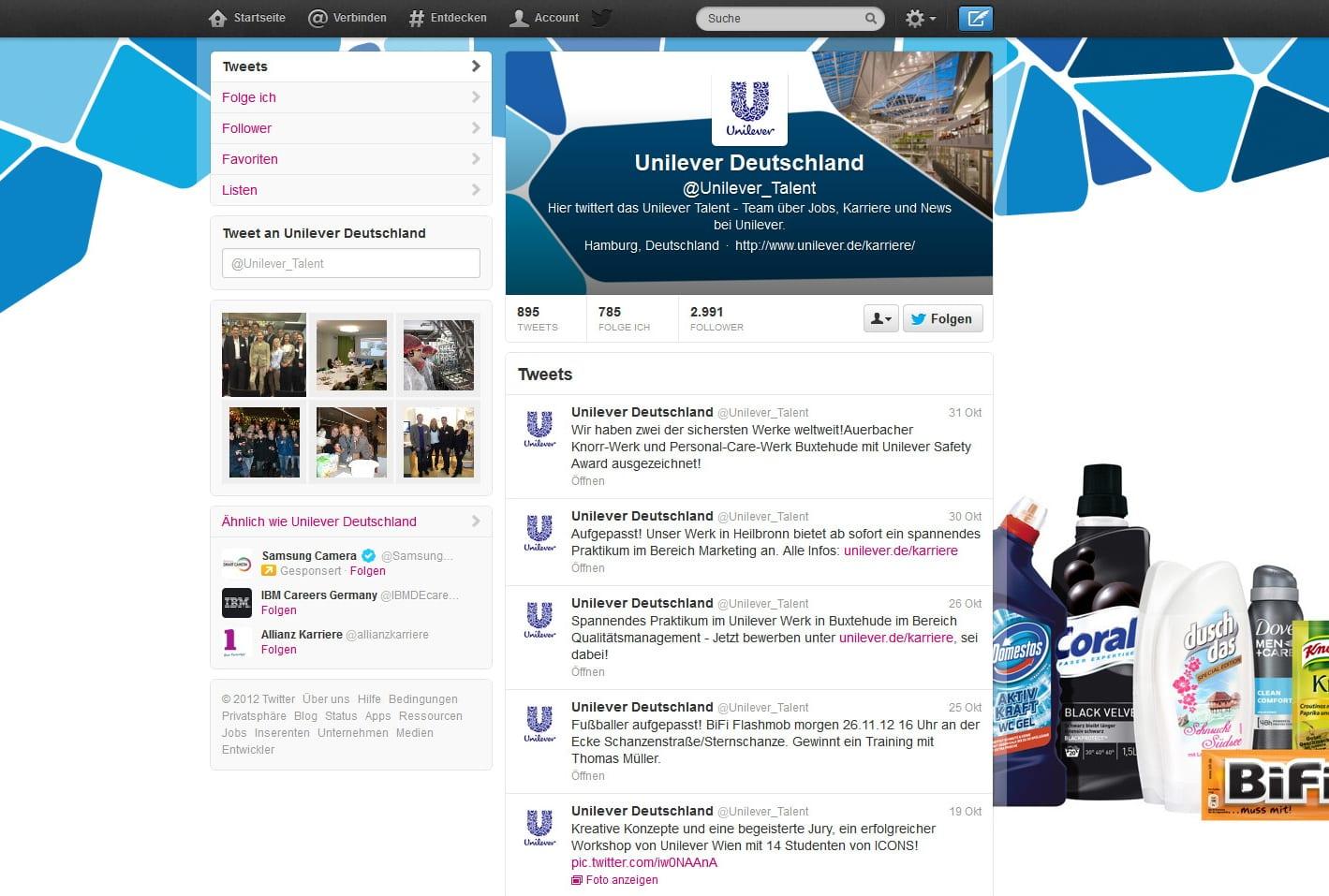 Unilever auf Twitter: ohne Teamvorstellung und ohne Dialog, überwiegend selbstreferenzierende Tweets - Potenziale nicht genutzt