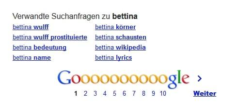 Verwandte Suchanfragen zu Bettina bei Google