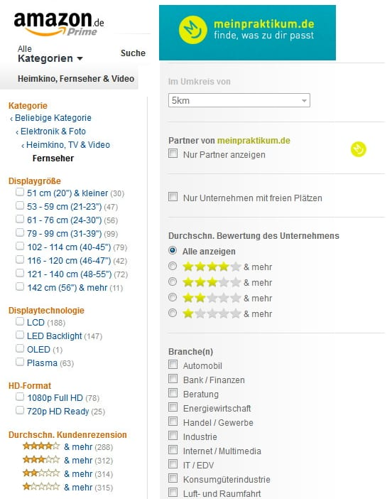 Amazon lässt grüßen - Filterkriterien bei meinpraktikum.de