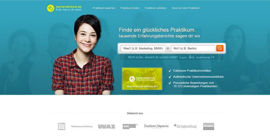 Die Startseite von meinpraktikum.de - aufgeräumt und übersichtlicher mit simpler Suchfunktion