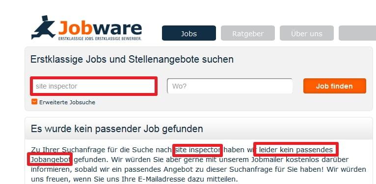 Die Suche nach Site Inspector bei Jobware liefert kein Ergebnis