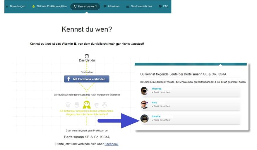 Klasse Feature bei meinpraktikum.de - Kennst du wen verknüpft mit Facebook- oder Xing-Profilen von Freunden