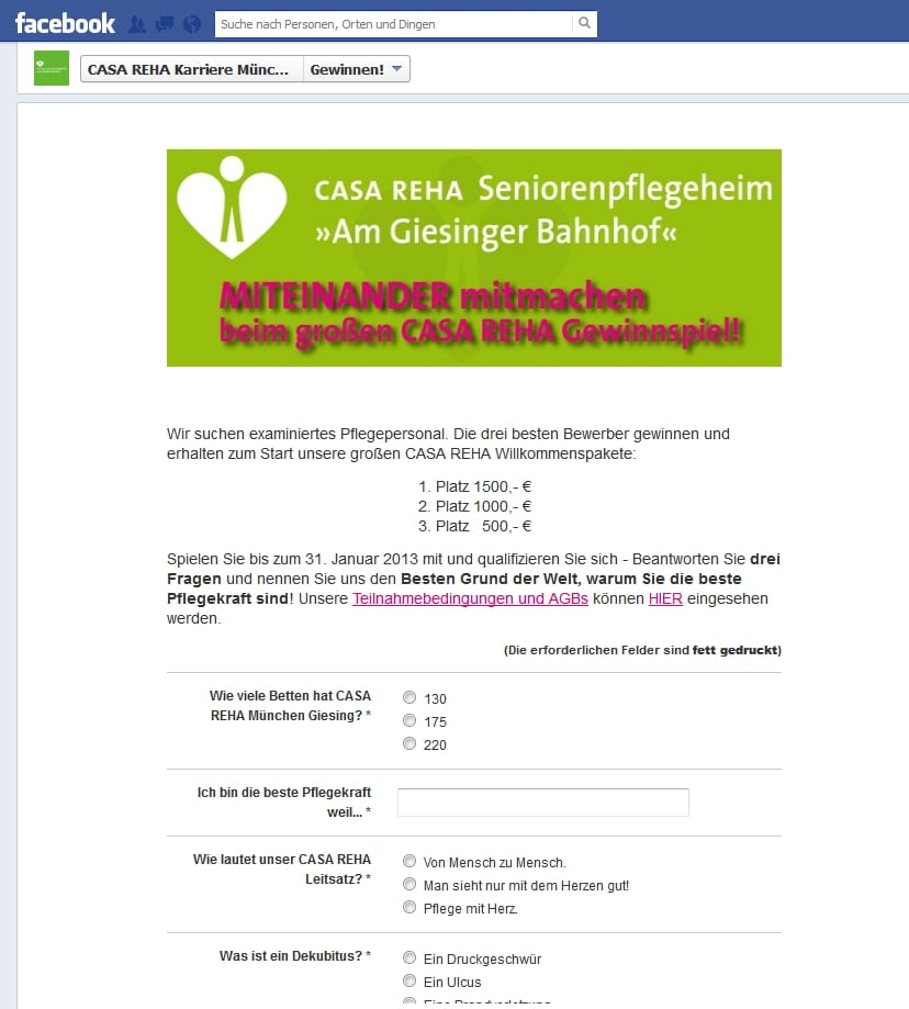 Personalmarketing in der Pflege - Beim CASA REHA Gewinnspiel gibt's Jobs für Pflegepersonal