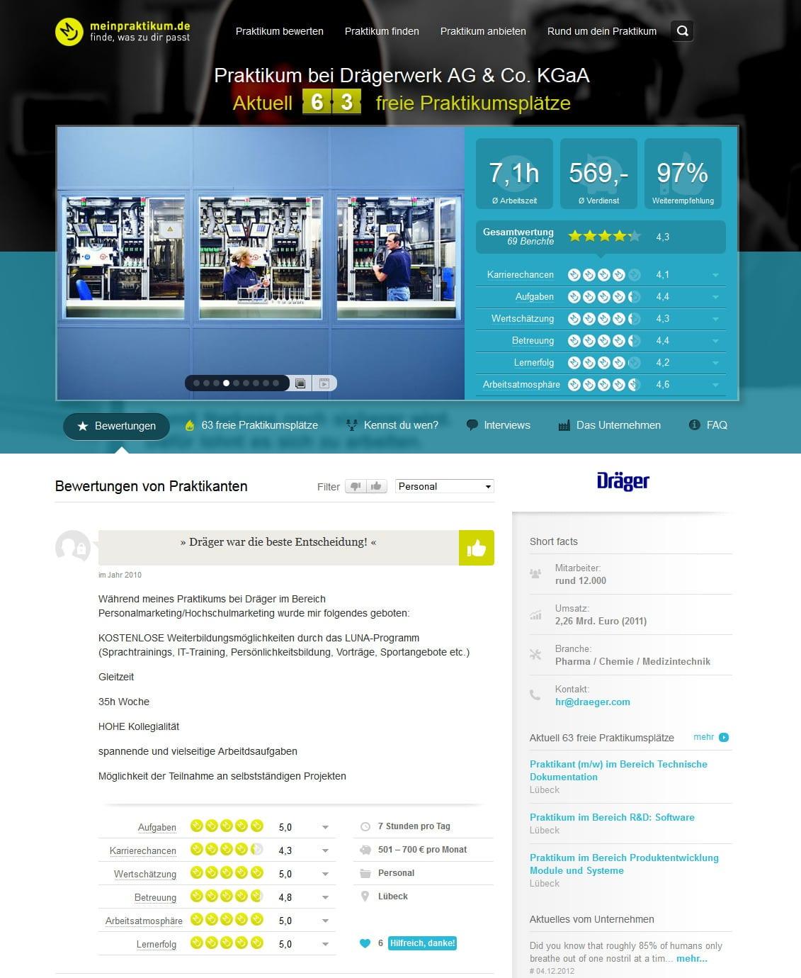 Unternehmensprofile bei meinpraktikum - Employer Branding und Usability in Bestform