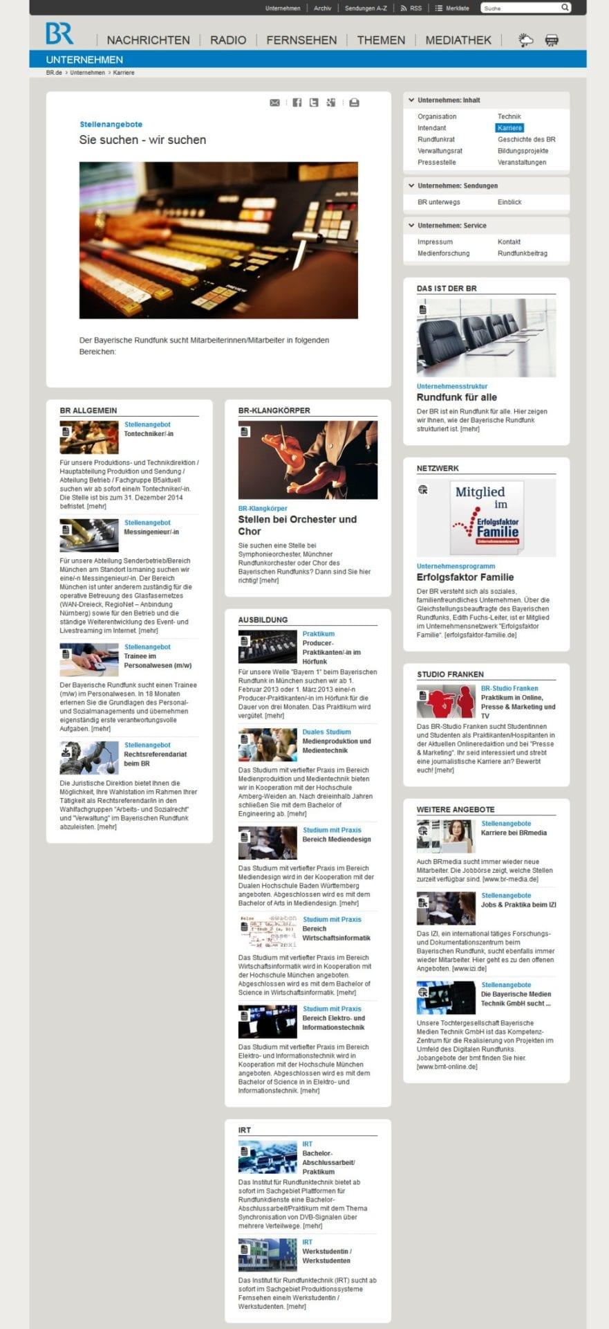 Bayerischer Rundfunk Karriere - der Weg zur Bewerbung wird einem nicht leicht gemacht