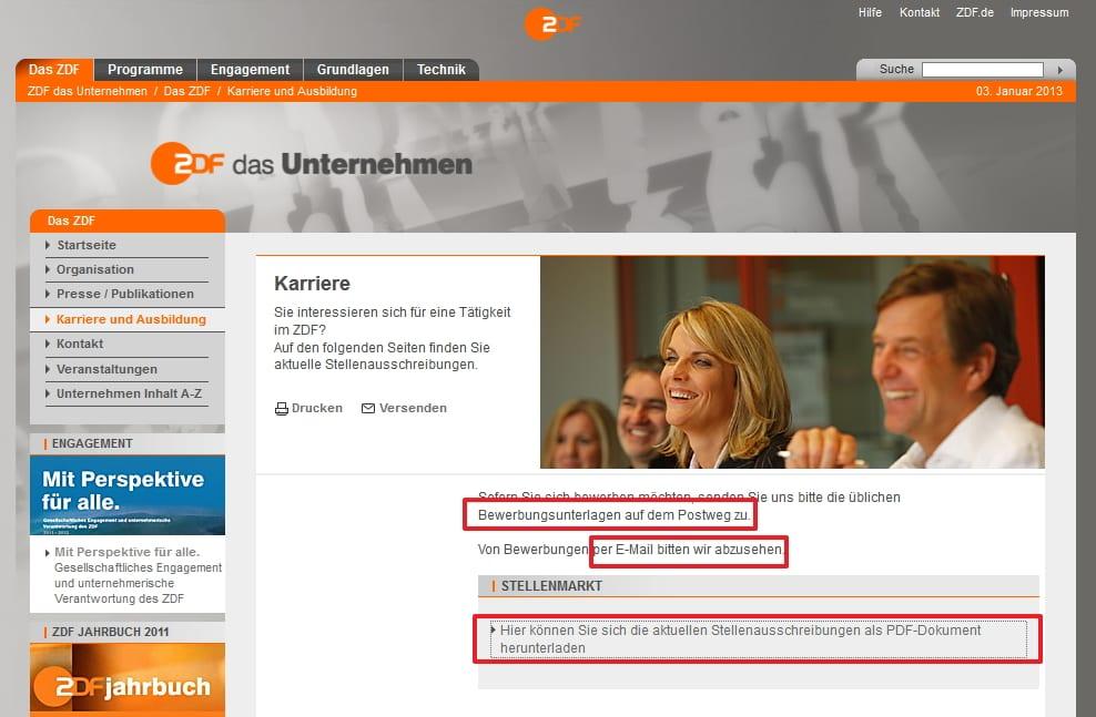 Bewerben beim ZDF - aber bitte nur per Post