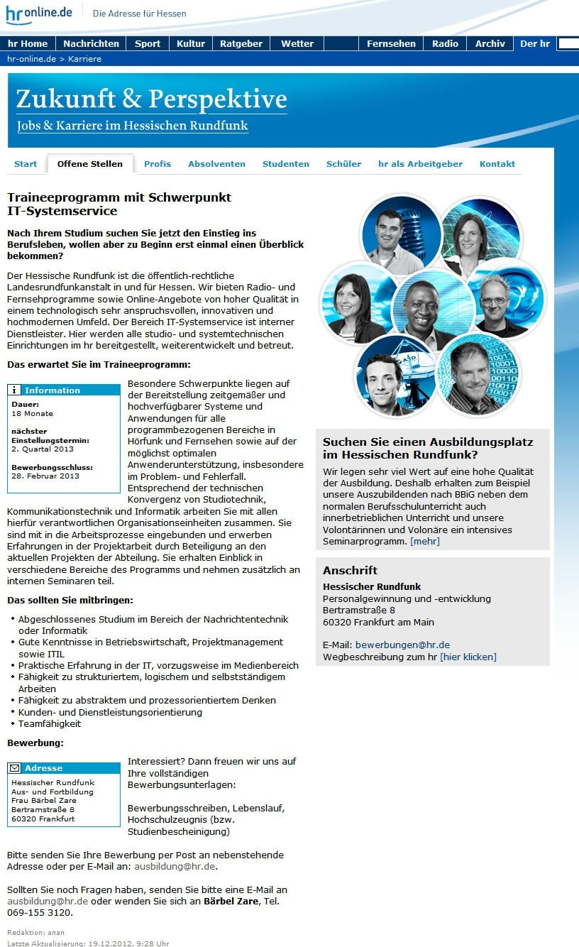 Jobs und Karriere im Hessischen Rundfunk - Stellenangebot Trainee