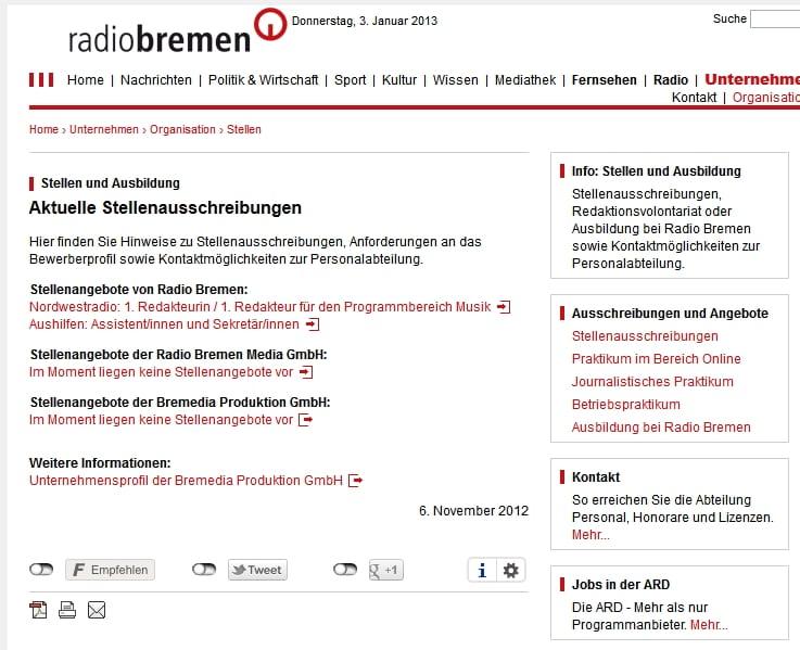 Karriere bei Radio Bremen - Infos sehr dünn gesät