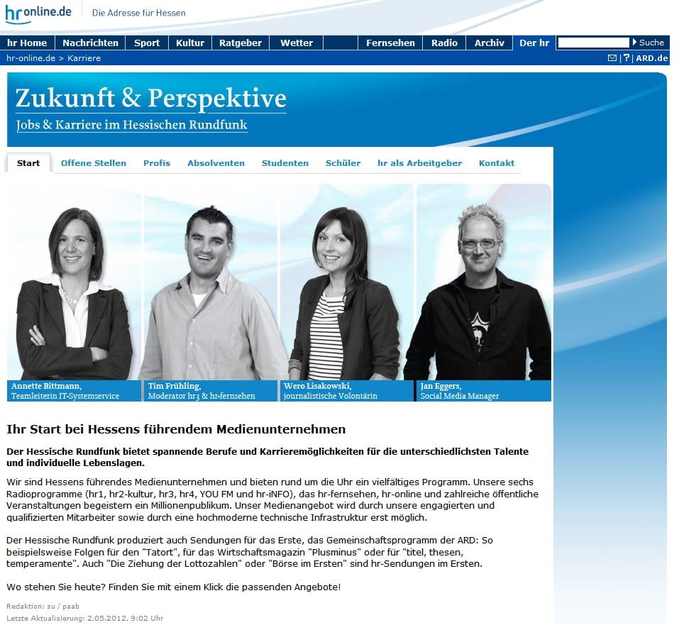 Karriereseite des Hessischen Rundfunks - klar strukturiert und zielgruppengerecht gestaltet